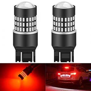 KaTur 7443 7444NA 7440 7440NA 992 Ampoule LED 900 Lumens 3014 Ampoule 78SMD pour Ampoule de Clignotant pour feu de Stop, feu arrière, Rouge Brillant (Pack de 2) (KAtur, neuf)