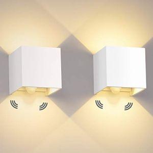 12W Applique Murale Interieur/Exterieur LED 2 Pièces avec détecteur de Mouvement Applique Murale 3000K Lampe Murale Étanche IP65 Avec Angle de Faisceau Réglable Up Down Design (ezon europe, neuf)