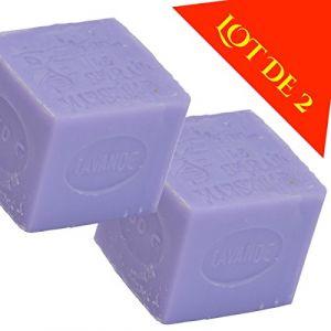 Lot de 2 cubes savons de Toilette Parfumé LAVANDE - 2 X 300G - à base de véritable savon de Marseille cuit en chaudron à l'ancienne (GRENADINE BOUTIQUE, neuf)