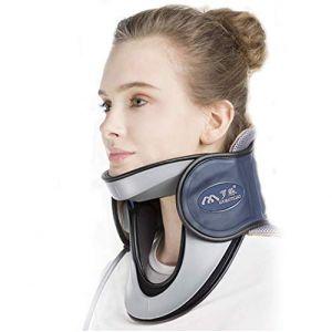 Cou dispositif de traction cervicale à domicile protection médicale collier gonflable cou avec pompe-n'importe où pour soulager la douleur au cou + confortable à porter,Blue (M Monica, neuf)