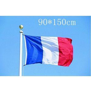 Drapeau de la France 5 * 3ft / 150 * 90cm drapeau de polyester Idéal pour l'extérieur et l'intérieur grand drapeau français (Nicedier-Tech, neuf)