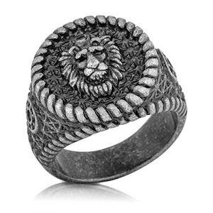 Akitsune Imperator Bague   Chevalière Acier Inoxydable de Bague Femme Homme Grand Roi Lion - Argent Antique - US 8 (blackskies-streetwear, neuf)
