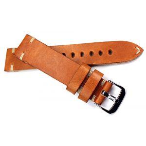 20mm Rios Bracelet en cuir couture blanche 20/18mm bande rétro Quality Strap bande marron clair Marine Militaire aviateur Top Qualité (Sammlerparadies, neuf)