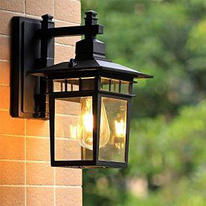 E27 Classique Noir Imperméable IP23 Applique Murale Exterieur Vintage Industrielle Luminaire Exterieur,couloir,Pavillon porche terrasse jardin allées escaliers Luminaire Extérieur Appliques (Chao Zan Maoyi, neuf)