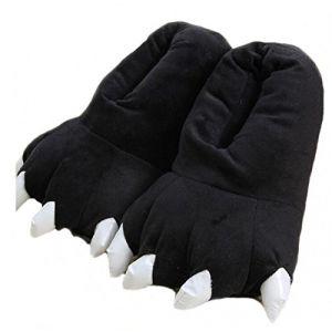 Unisexe Dessin animé Moelleux Dinosaur Griffe Pantoufles Hiver Chaud Mignon Cosy Home Monster Pantoufles Halloween Costume Animal Patte Chaussures (L: Longueur de la Semelle: 29cm, Black) (Zteng, neuf)
