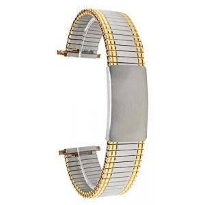 Bandini 22mm Bracelet de Montre Extensible en Acier Inoxydable pour Homme, Ton Argent et Or, Longueur Ajustable, Bracelet Montre en métal à Expansion, sans Boucle (Shoptictoc., neuf)