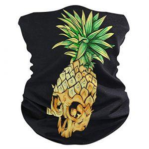 QMIN Bandeau Tête de Mort Ananas Motif Bandana Visage Soleil Protection Masque Cagoule Magique Cagoule pour Femmes Hommes Garçons Filles (QMIN, neuf)