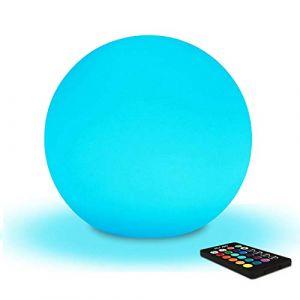 Mr.Go 20cm Boule Lumineuse Sphère LED Lumière d'Ambiance avec Télécommande, Veilleuse LED Lampe de Chevet pour Enfants avec Couleur Changeante, 16 RGB Couleurs et Rechargeable Batterie (Mr.Go, neuf)