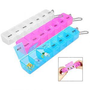 iwobi Pilulier Semainier, 3 Pièces 7 Jours Petite Boîte a Pilules Plastique Médicament Portable Pilulier (Nanxin-EU, neuf)