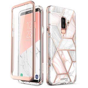 i-Blason Coque Galaxy S9 Plus, Coque Complète Brillante Glitter Bumper avec Protecteur d'écran Intégré [Série Cosmo] pour Samsung Galaxy S9 Plus 2018 (Marbre) (I-Blason EU, neuf)