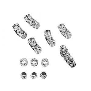 FRCOLOR 12Pcs Tube de Cheveux Perles Dreadlocks en Aluminium Perles Poignets en Métal Décorations de Cheveux Anneaux Clips Tressage Bijoux Accessoires de Décoration de Cheveux (Veronicoar, neuf)