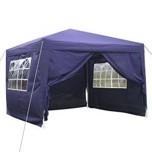 mymotto Pop-Up Auvent 3 x 3 x 2.6m Tente Chapiteau de Reception en Polyester Support en Aluminium avec 4 Panneaux Latéraux et 2 Fenêtres pour Party et Camping (Violet) (mymotto, neuf)