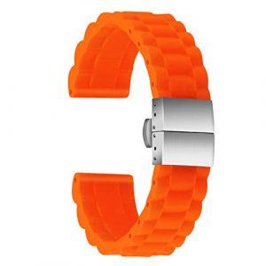 Ullchro Bracelet Montre Haute Qualité Remplacer Silicone Bracelet Montre Link Pattern - 16mm, 18mm, 20mm, 22mm, 24mm Caoutchouc Montre Bracelet avec Boucle Déployante Acier Inoxydable (24mm, Orange) (Ullchro-EU, neuf)