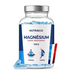 Magnesium Végétal & Vitamine B6 Bio-Active | Malate & Liposome de Magnésium | Absorption Supérieure au Bisglycinate & Teneur Egale au Magnésium Marin | 300mg/j 120 Gélules Made in France | Nutri&Co (Nutri&Co, neuf)