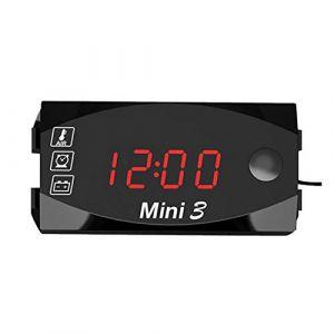 Dubleir 3 in 1 Numérique Horloge Moto Thermomètre Voltmetre Digitale Guidon Mount IP67 Étanche Montre Moto avec Affichage Grand Écran, 12v/24v (Dubleir, neuf)