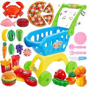 Buyger 31 Pièces Cuisine Dinette Caddie Enfant Jouets à Couper Chariot de Courses Enfant avec Lumière et la Musique, Jeu d'Imitation (SZMALL, neuf)