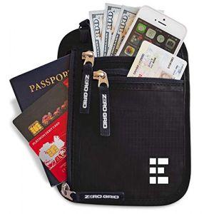 Pochette Tour de Cou Voyage Sécurisée - Portefeuille Passeport Organisateur RFID (Midnight) (Zero Grid, neuf)