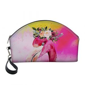 Shinelly Trousse de maquillage en cuir Motif flamant rose pour fille (Queenwon, neuf)