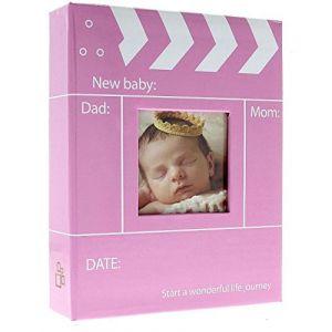 Album Photo Naissance à pochettes REINE Rose pour 200 photos 10x15 cm, Couverture en papier imprimé, 2 vues par page, Dimensions : 17X22.5 cm, existe aussi en bleu (LC-Distribution, neuf)