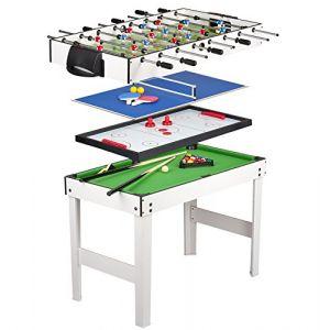 Leomark Table 4 Jeux En 1 -Billard, Babyfoot, Hockey de Table et Ping-Pong  Babyfoot Table de Ping Pong Avec Dessus de Table de Billardtous Les Accessoires Inclus (Leomark, neuf)