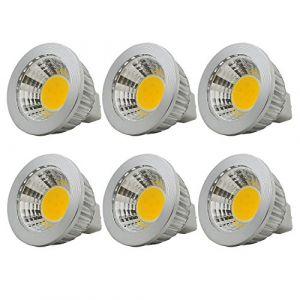 6 unités, Ampoule LED MR16/GU5.3 COB Lampe Bulb, 3W / 210lm, DC 12V, Blanc Chaud 2700K, Équivalent à Ampoule Halogène 20W, ø50x52, 90° Angle de faisceau (ZEROZ, neuf)