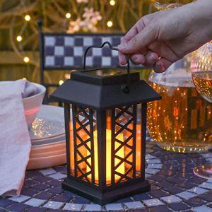 Festive Lights Lanternes Solaires Décoratives Extérieures Noir Mat avec Éclairage Bougie LED Effet Vacillant Waterproof (hauteur 17,50cm) (Festive Lights Ltd, neuf)