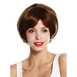 WIG ME UP - KZY-5-6 Perruque dame courte ronde carré volumineuse châtain brun (VK Event Fashion, neuf)