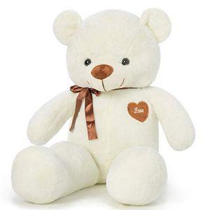 YunNasi Ours en Peluche Géant Nounours Grand Doudou Teddy Doux Ours XL 100CM Blanc Cadeau pour Enfants et Amie (Le Rhin, neuf)