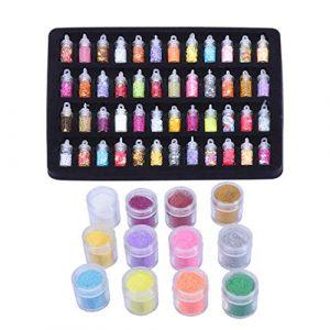 Healifty 60Pcs Nail Art Poudre Kit Nail Art Glitter Sequin Poussière Assortiment de Flocons D'ongles pour Bricolage Artisanat Nail Art Maquillage Corps Yeux Décoration (Tahofer, neuf)