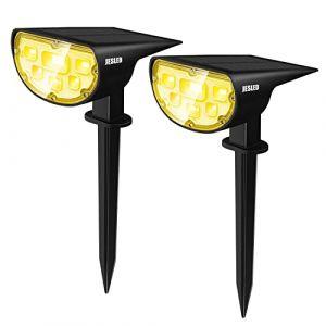 Spot Solaire Extérieur, Blanc chaud, JESLED 14 LEDs Extérieur Lampes Solaires Etanche IP67,Applique solaire extérieure 2 en 1,Extérieur Solaire pour Jardin, Cour, Extérieur, Chemin, Allée (2 Pack) (JESLED FR Direct, neuf)