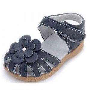 Sandales Bout Fermé en Cuir Souple pour Enfant Fille,Chaussures Premiers Pas bébé de Été Bleu 26 (Cotouke, neuf)