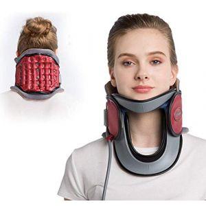 Cou dispositif de traction cervicale à domicile protection médicale collier gonflable cou avec pompe-n'importe où pour soulager la douleur au cou + confortable à porter,Red (M Monica, neuf)