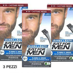 Just for Men - Lot de 3 colorations permanentes, teinture, gel colorant pour barbe et moustaches avec brosse, châtain moyen M-35 2X, 14 ml (Onogo FR, neuf)