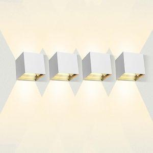 LEDMO Applique Murale Interieur 12W* 4 Appliques Extérieur LED IP65 Étanche pour Chambre Maison Couloir Salon 3000K Blanc Chaud (Oslar, neuf)