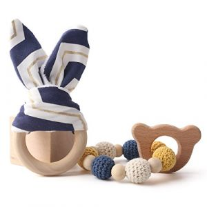 let's make Anneaux de Dentition en Bois Bunny Ear 1set / 2pc Bracelet D'allaitement Sensoriel Jouet à Mâcher en Bois Set de Dentition Bébé (baby tete, neuf)