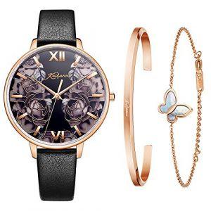 Kaifanxi Femme Montre à Quartz Cadran Motif Fleurs délicates avec Bracelet Cadeau pour Femme Saphir Verre de Cristal et Bracelet en Cuir Souple (Exclusive Watch Store, neuf)