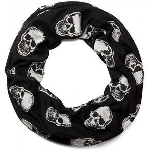 styleBREAKER Écharpe loop style snood avec motif appliqué à tête de mort, unisexe 01018081, couleur:Noir (styleBREAKER, neuf)