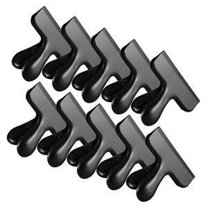 IPOW 10 PCS Pince Sachet Acier Inoxydable Clips de Fermeture Conservation Alimentaire pour Fermer Emballage Alimentaire Fermer Sachets Parfait Utiliser à Cuisine Home ou Fourniture de Bur Noir (TechAIBO, neuf)