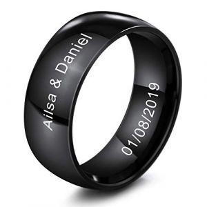 MeMeDIY 8mm Noir Acier Inoxydable Anneau Bague Bague Mariage Amour Taille 62 - Gravure personnalisée (MeMeDIY, neuf)