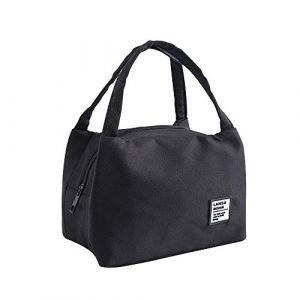 Sac Repas Isotherme pour Déjeuner Lunch Bag Portable Sac à Déjeuner Sac Fraîcheur Portable Isotherme Sac de Repas pour Hommes Femmes Enfants, Lunch Bag pour Travail Ecole Pique-Nique (Noir) (Balock, neuf)