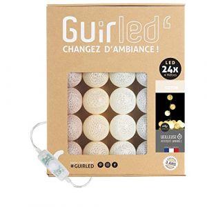 Guirlande lumineuse boules coton LED USB - Veilleuse bébé 2h - Adaptateur secteur double USB 2A inclus - 3 intensités - 24 boules 4m - Coton (Lighting Arena, neuf)