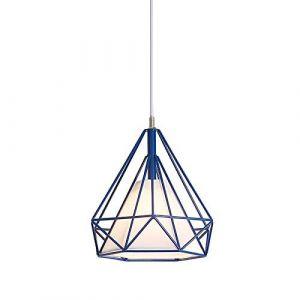 Lustre Suspension Industrielle Rétro Plafonnier en Fer Forme Diamant Abat-Jour Luminaire 25CM Multicolore (Bleu) (miracle life, neuf)