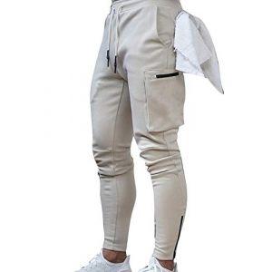 Loalirando Pantalon Homme Sport Fitness Jogging Décontracté Multi Poches Pantalon Cargo Slim Fit Militaire,Beige,XXL (Biu-clothing, neuf)