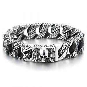 COOLSTEELANDBEYOND Homme Acier Crâne Charmes Motif Peau Serpent Chaîne Gourmette Bracelet AVCE Pirate Crâne Fermoir, Gothique Biker, (iMECTALII EU, neuf)
