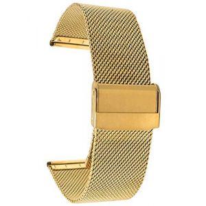 Bandini 18mm Bracelet de Montre Maille en Acier Inoxydable pour Homme - Ton Or - Bracelet de Montre de Remplacement en Maille métallique Fine - Longueur Ajustable (Shoptictoc., neuf)