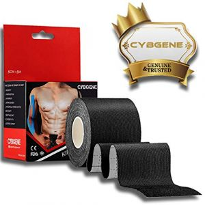 Strap Tape Kinesiologie, CybGene Bande de Kinesio pour Strapping et Taping, pour genou, épaule, cheville (5cm x 5m, noir) (InFiTech, neuf)