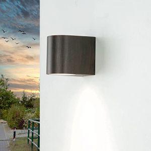 Lampe murale extérieure design «Aalborg» noir-marron antique/douille GU10 jusqu'à 35W / IP44 résistante aux intempéries/Applique murale pour zones extérieures jardin cour (Licht-Erlebnisse, neuf)