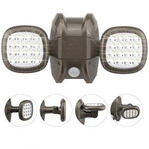 HONWELL Détecteur de mouvement, éclairage de sécurité LED sans fil, éclairage de sécurité à piles, projecteur réglable blanc chaud 6000K étanche IP65 pour porche, patio, garage d'escalier, bronze (honwell, neuf)