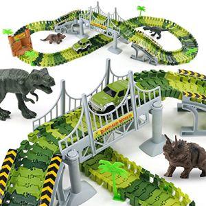 Nuheby Circuit Dinosaure Voiture Flexible Circuit de Voiture Jeu Educatif Creation Enfant pour Cadeau Enfant Garcon Fille 3 4 5 Ans (142Pièces) (NuanHe1988, neuf)