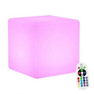 Ambiance LED Boule de Lumière,KINGCOO LED Veilleuse Rechargeable Lampe de Table de Chevet,éclairage de Nuit Convient pour Extérieur Décoration(Cube 15CM) (KINGCOO-Direct, neuf)